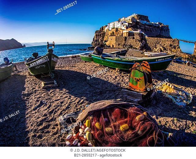 """Morocco, Semi-island or """"Peñon de Velez de la Gomera"""", spanish Plaza de Soberanía (place of sovereignty) by the Moroccan coast, by Bades"""