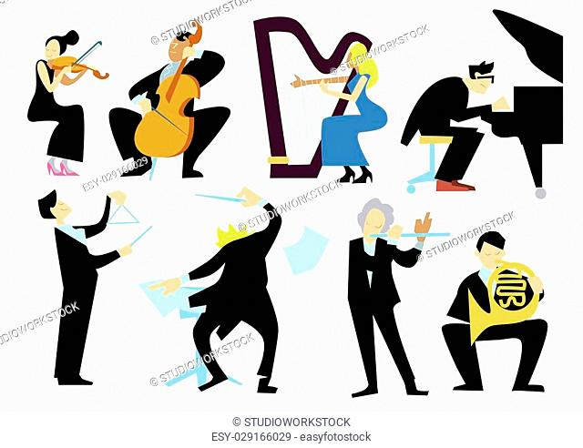Music orchestra people, isolated on white background. Conductor, trumpet player, pianist, cellist, violinist. Vector musicians