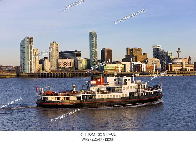 Skyline and Ferry, Liverpool, Merseyside, England