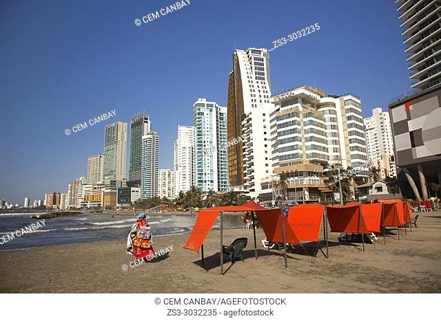 View to the beach and buildings in Boca Grande district, Cartagena de Indias, Bolivar, Colombia, South America