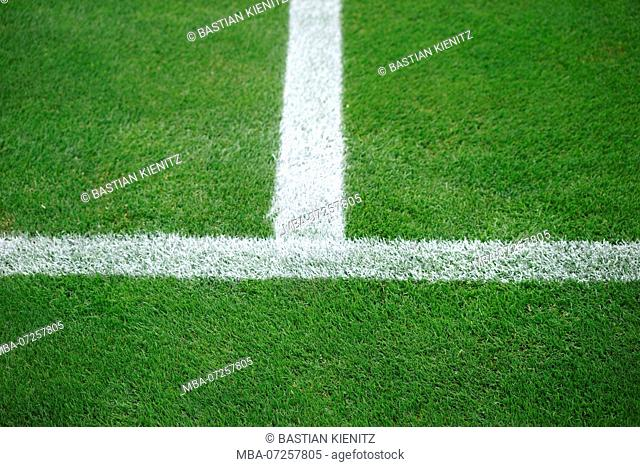 Green grass field of a soccer field with the sideline and the halfway line