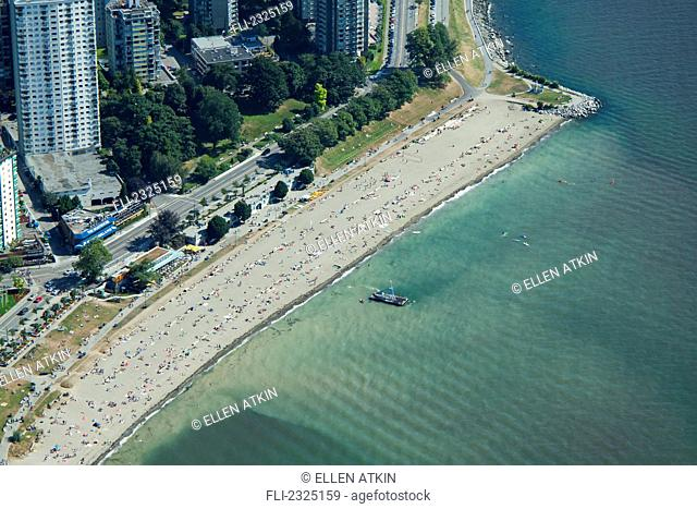 Aerial view of english bay beach and west end in summer;Vancouver british columbia canada