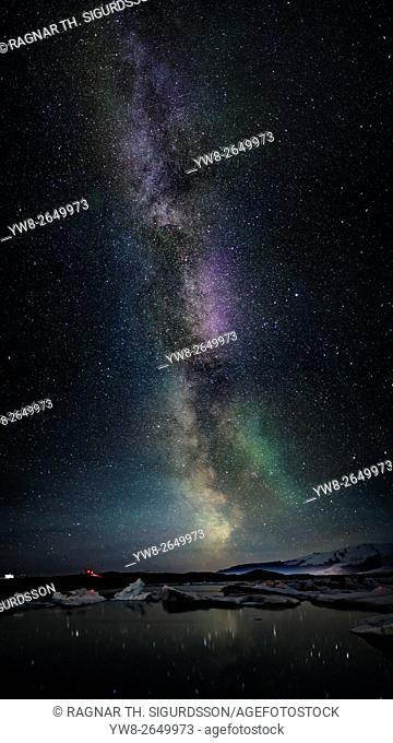 Milky way galaxy, stars, and auroras, Jokulsarlon Glacial Lagoon, Iceland