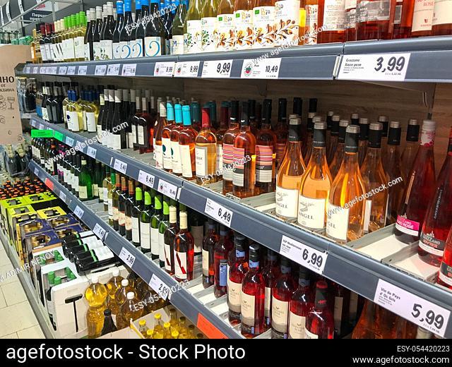 Pomorie, Bulgaria - March 04, 2020: Wine bottles in wine shop