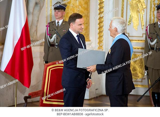 Aug. 6, 2015 Warsaw, presidential inauguration in Poland: Andrzej Duda sworn in as new Polish president. Receiving the insignia of orders at the Royal Castle