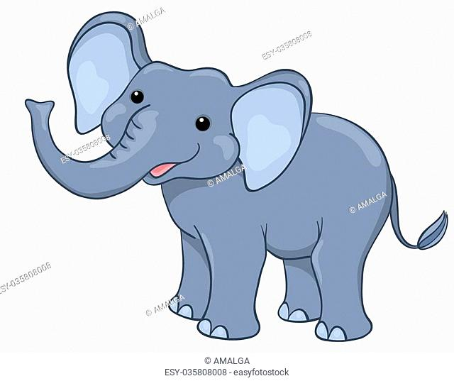 Happy elephant. Isolated on white. Vector cartoon children illustration