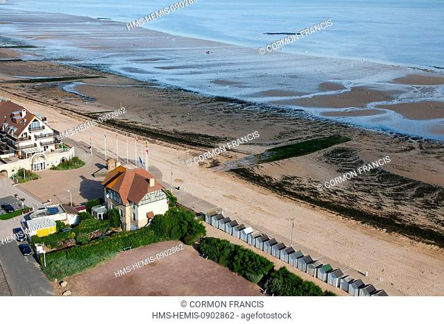 France, Calvados, Bernieres sur Mer, Juno Beach, House of Canadians, the first house June 6 1944 liberated by Canadian soldiers (aerial view)