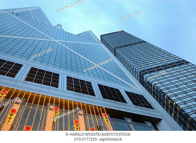 Hong Kong, China, Asia. Hong Kong Central. Towers of Bank of China (left) and Cheung Kong Center (right)