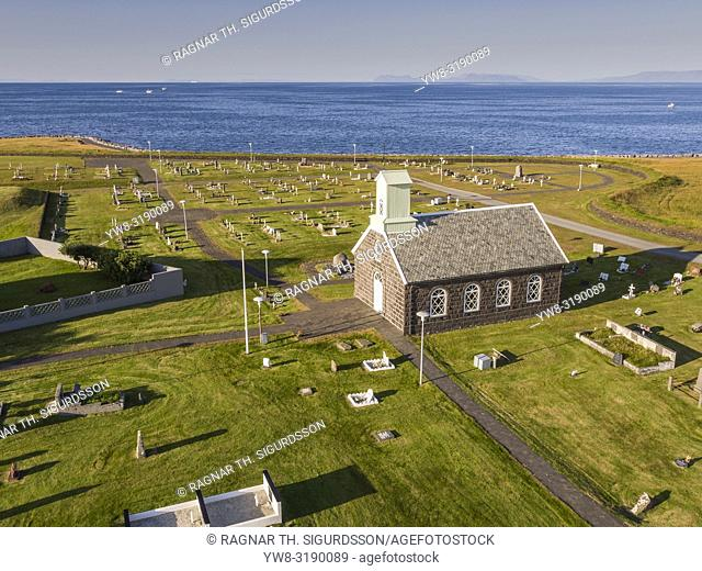 Innri Njadvik Church, Reykjanes Penisula, Iceland. This image is shot using a drone