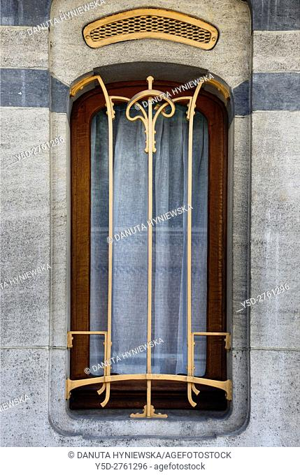Architectural detail - Art Nouveau Victor Horta's own house and atelier designed in late 1890s, together with three other town houses it was put on the 'UNESCO...