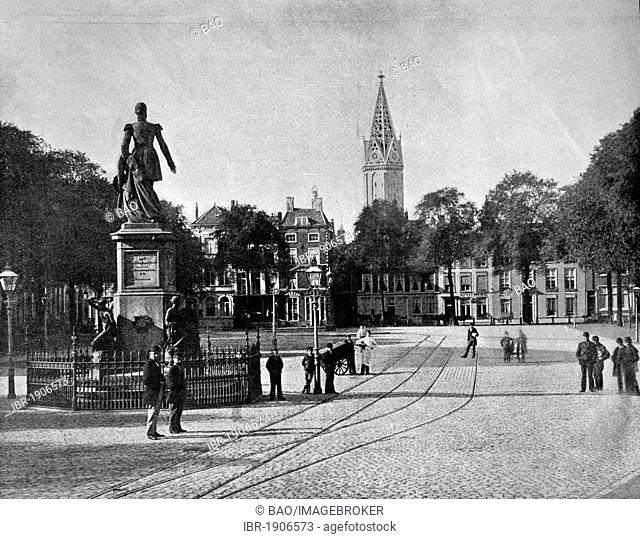 Early autotype of the Palais Vyversberg in The Hague, Holland, Netherlands, 1880