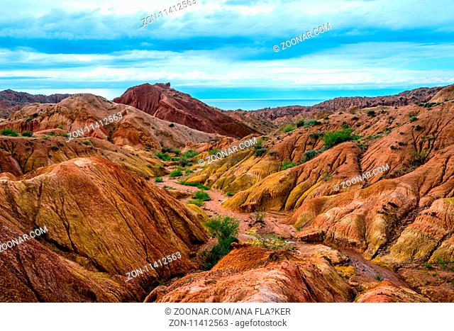 Colorful rock formations in Skazka aka Fairy tale canyon, Kyrgyzstan
