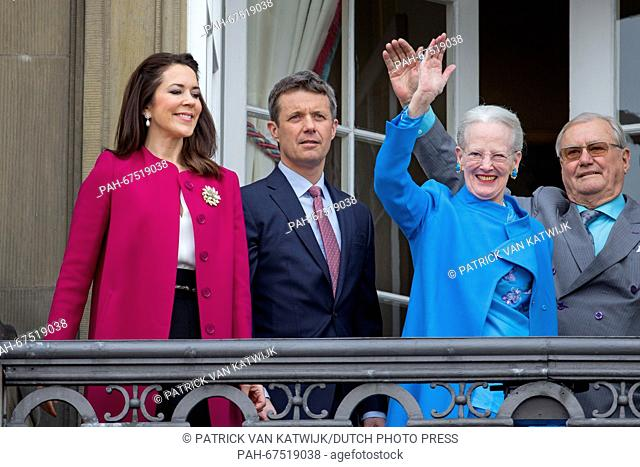 Queen Margrethe (R), Crown Prince Frederik and Crown Princess Mary of Denmark during the 76th birthday celebration of Queen Margrethe at the balcony of...