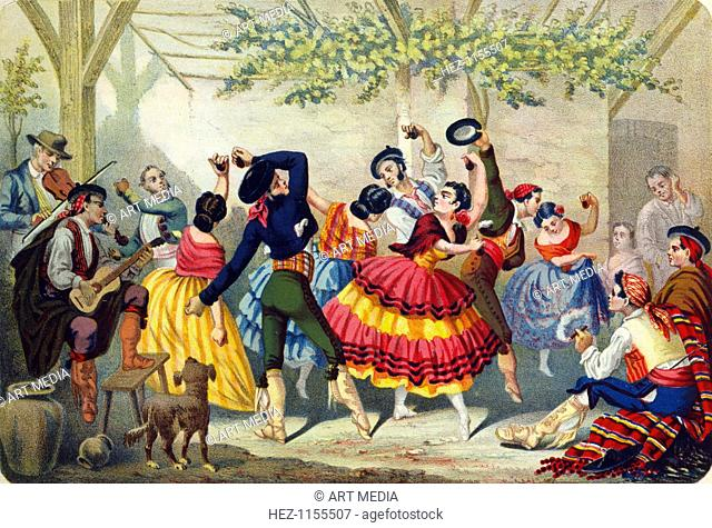 Spanish dancers, mid 19th century. Dancers in traditional costume and using castanets are accompanied by guitar and violin players