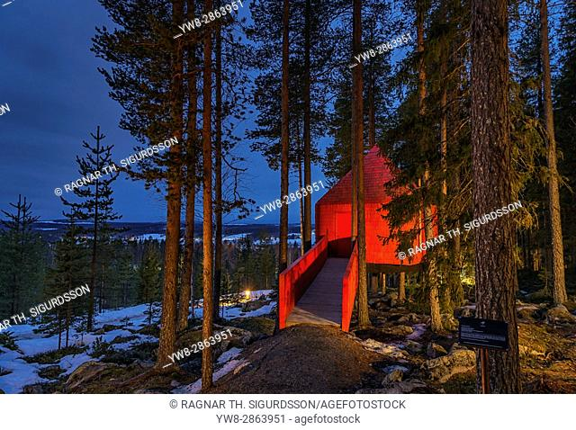 Accommodation in the woods, known as The Blue Cone, at the Tree Hotel in Lapland, Sweden