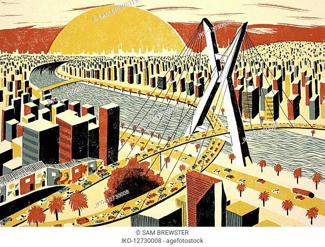 Illustration of Octavio Frias de Oliveira bridge in Sao Paulo
