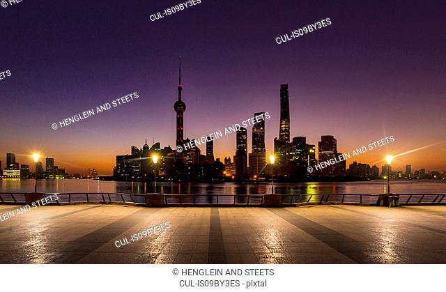 The Bund and Pudong skyline at dawn, Shanghai, China