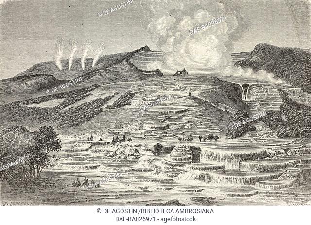Te Rata, thermal spring, from Travel in New Zealand (1858-1860) by Ferdinand von Hochstetter (1829-1884), drawing by Dieudonne Lancelot (1822-1894)