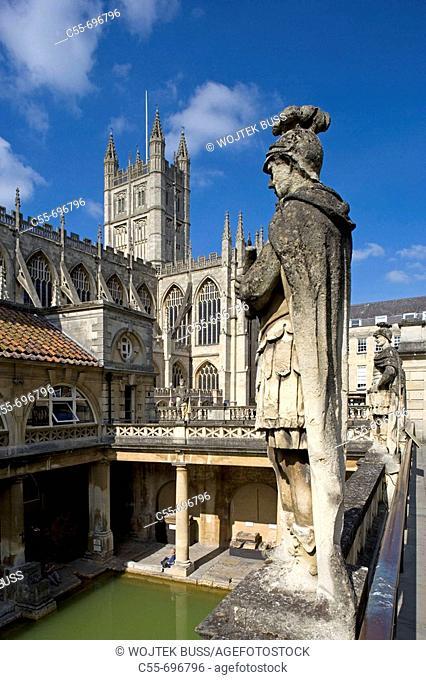 Bath,The Great Roman Bath, Abbey Church,1499, by Bishop King, Somerset, UK