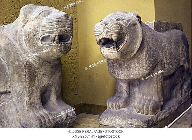 Lions of Sam'al, Inner Gate of the Citadel of Sam'al/Zincirli in Turkey, Pergamon Museum, Museum Island, Berlin, Germany, Europe
