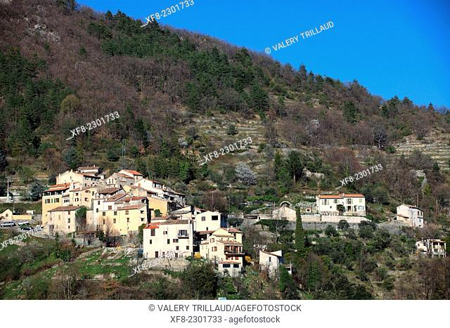 The village of Aiglun in the Esteron Valley, Prealpes d'Azur regional park, Alpes-Maritimes, Provence-Alpes-Côte d'Azur, France
