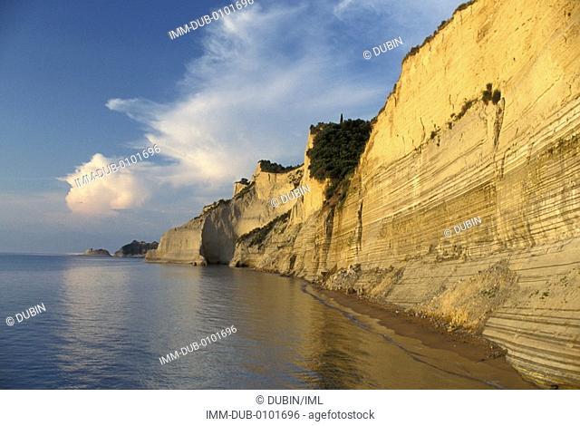 Coast of the island, cliff Corfu, Ionian Islands, Greece