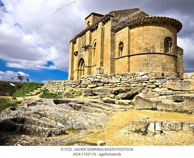 The archaeological site of the necropolis and the 12th Century Romanesque church of Santa Maria de la Piscina - Peciña - La Sonsierra - Rioja Alta - La Rioja -...