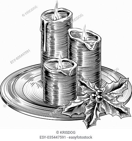 Illustration of vintage Christmas candles and holly decorations on a plate