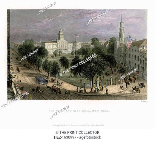 The Park and City Hall, New York, USA, 1838