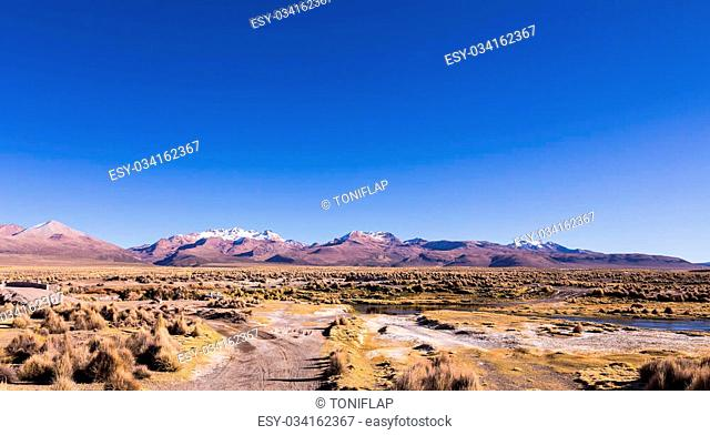 High Andean tundra landscape in the mountains of the Andes. The weather Andean Highlands Puna grassland ecoregion, of the montane grasslands and shrublands...