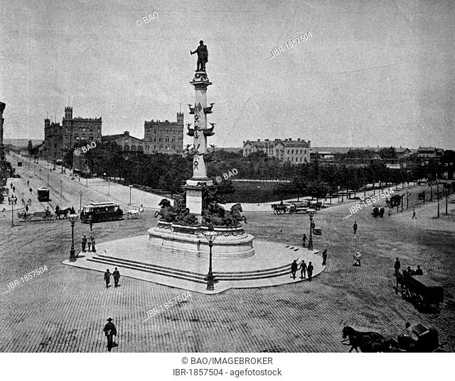 One of the first autotype prints, Praterstern roundabout, historic photograph, 1884, Vienna, Austria, Europe
