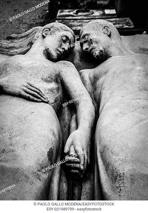Detail of a more than 100 years old tomb dedicated to a married couple