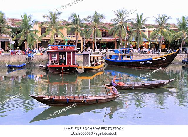Colorful boats on river, Hoi An, Vietnam, Asia