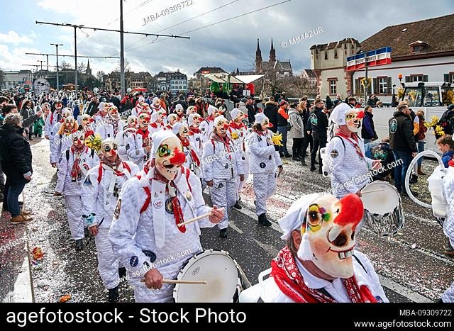 Europe, Switzerland, Basel, Traditional event, Basel Fasnacht, the largest in Switzerland, intangible cultural heritage of humanity