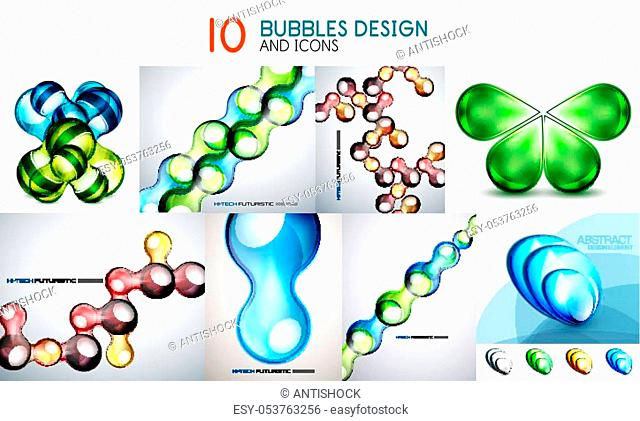 Mega collection of bubble backgrounds - glass with reflections and metallic designs. Set of modern wallpapers