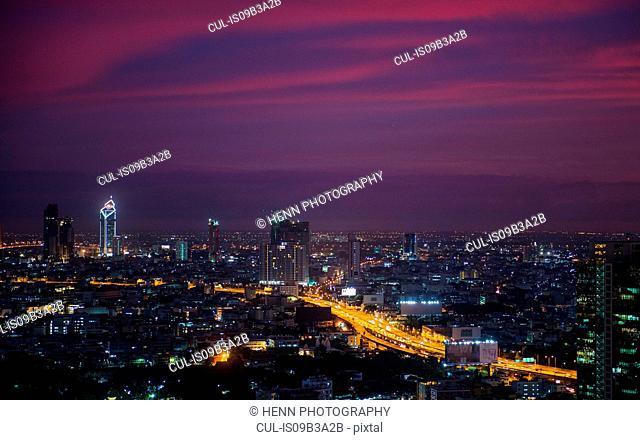 Sathorn district by night, Bangkok