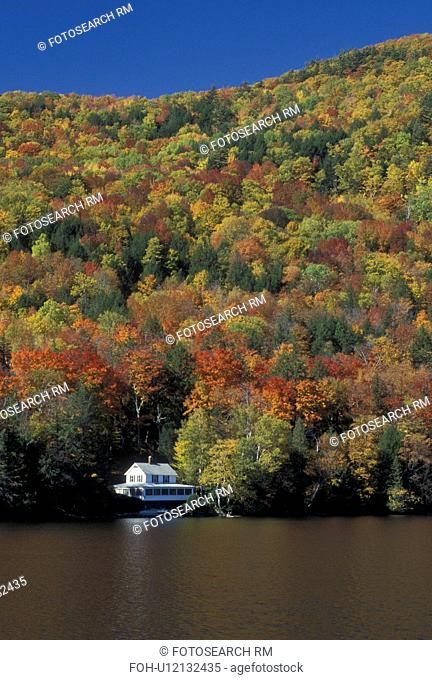 lake, cabin, fall, Barnet, VT, Vermont, Summer cottage surrounded by colorful fall foliage on Harveys Lake in the autumn