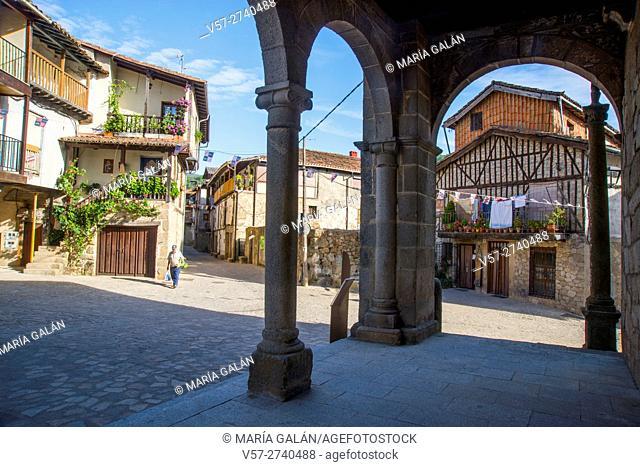 View from the portico of the church. San Martin del Castañar, Sierra de Francia Nature Reserve, Salamanca province, Castilla Leon, Spain