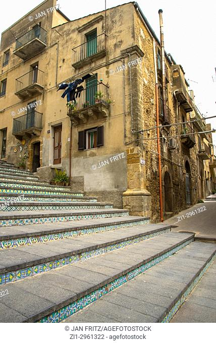 famous steps with ceramic tiles at Caltagirone, Sicily, Italy