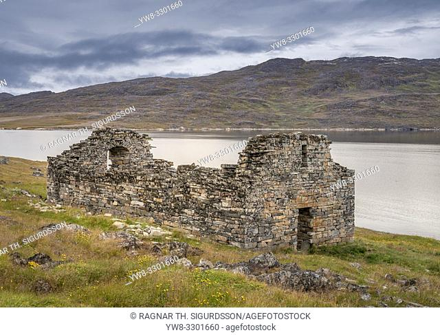 Ruins of the Hvalsey Church - abandoned Greenlandic Norse settlement of Hvalsey (now modern-day Qaqortoq)