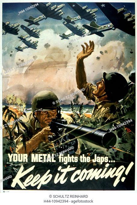 World War II, Second World War, world war, war, poster, Propagana, propaganda poster, USA, American, soldiers, maschinengewehr, fight, battle, 1943, airplanes