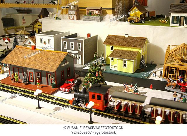 Model train set on display at the Atwood House Museum, Chatham, Cape Cod, Massachusetts, United States, North America