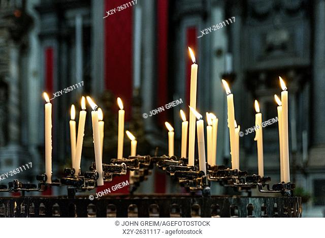 Votive candles in a Venetian church, Venice, Italy