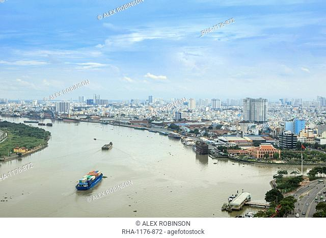 The skyline of Ho Chi Minh City (Saigon) showing the Bitexco tower and the Saigon River, Ho Chi Minh City, Vietnam, Indochina, Southeast Asia, Asia