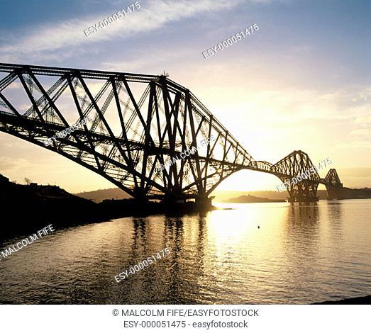 Forth rail bridge at sunrise. Scotland