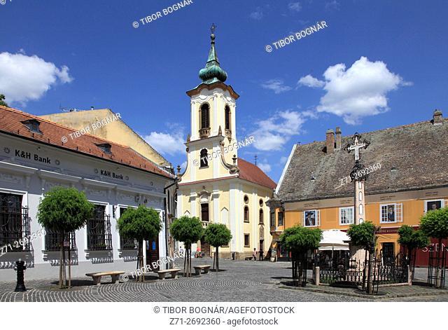 Hungary, Szentendre, Main Square, Blagosvetenska Serbian Orthodox Church,