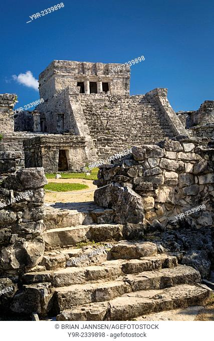 Ruins of the Mayan temple grounds at Tulum, Yucatan, Mexico