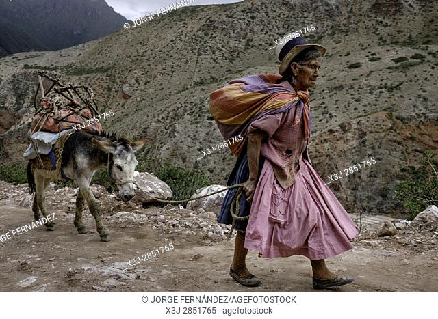 Isidora is an old woman from the village of Maras who goes most days with her donkey to the salinas to collect some salt