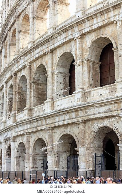 Architectural details of the ancient building of Colosseum the largest amphitheatre ever built Rome Lazio Italy Europe