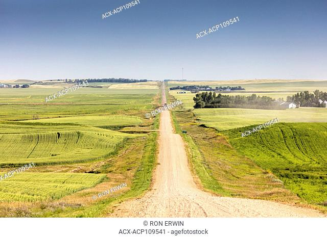 Rolling hills in the Rural Municipality of Stonehenge No. 73 in Southern Saskatchewan, Canada